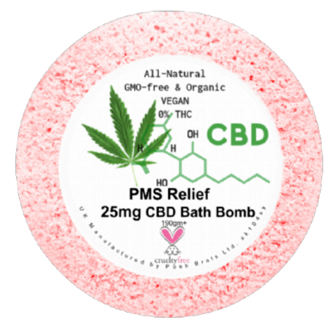 PMS Relief CBD Hemp Oil Aromatherapy Bath Bomb - 25mg
